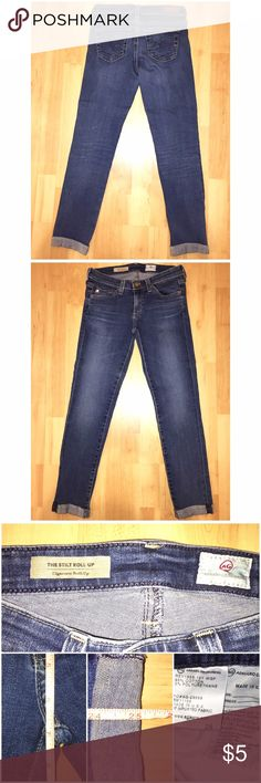 "AG Adriano Goldschmied Jeans AG Adriano Goldschmied Jeans in size 24 with a 25"" inseam come preloved and in VERY GOOD condition. These are The Stilt Roll-Up: Cigarette Roll-Up with a 6.75"" rise. No ripping, tearing or staining. Dark wash and soft denim! My all time FAVORITE pair of skinnies right now. They fit amazingly. So, price firm for now :) My prices fluctuate from time to time. Catch items when the prices are low!❤️ AG Adriano Goldschmied Jeans Skinny"