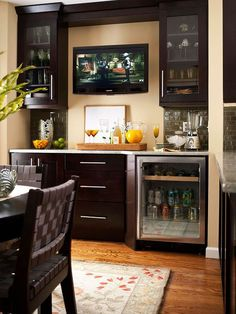 with Pro-Style Amenities Convenient Beverage Station great for a basement family room. EdithSellsHomes Beverage Station great for a basement family room. Basement Bar Designs, Basement Ideas, Small Basement Bars, Small Basement Kitchen, Small Bars For Home, Basement Decorating, Rustic Basement, Modern Basement, Decorating Ideas