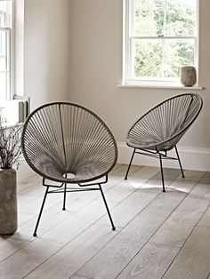 Inspired by 1950's Acapulco chairs, our classic string chair has been woven from high quality durable plastic around a strong metal frame. Each chair has been designed for optimum comfort with a cocoon shape centre and high back. Ideal for outdoor lounging during the Summer months, this large soft grey chair will also add a contemporary twist to your inside space. This product is not available for Next Day Delivery in the UK and due to the size and weight of this item it is not currently…