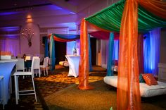 Bridal Bliss Wedding: Vibrant lounge with pillows made with fabric from India