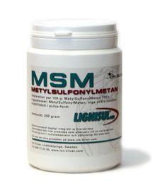 MSM (organiskt svavel) 200 och 500 gram/MSM (on orgaaninen rikkiyhdiste) 200 ja 500 g