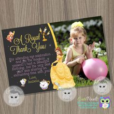 Princess Belle Thank You Card Beauty and the beast by CutePixels