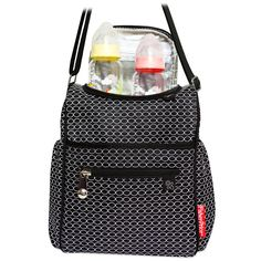 Get ready to go anywhere with this good looking, go-to bottle bag crafted in an on-trend, black and white chain print. It's all in the details, with an insulated main body to keep food and drink cool, 2 outside bottle pockets, and an easy-wipe pacifier pocket. The inside zip utensil pocket could not be handier, and chromed hardware and zip pulls, featuring the iconic Fisher-Price logo, give it just the right pop of shine. The adjustable shoulder strap allows hands-free convenience, making it…