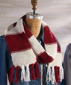 Hooray Team Scarf Free Knitting Pattern in Red Heart Yarns