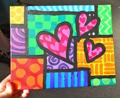 An acrylic painting I made a while back inspired by my favorite artist Britto Hearts on Squares Valentines Art Lessons, Square One Art, School Art Projects, Arte Pop, Art Classroom, Art Club, Art Plastique, Art Activities, Teaching Art