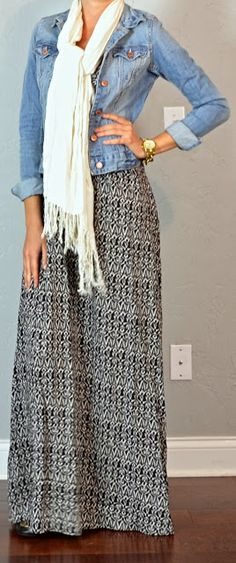 Outfit Posts: guest outfit post - sister week: ikat maxi dress, jean jacket, cream scarf