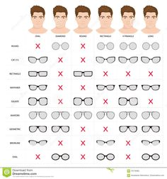 Illustration of Right glasses for mans face shape. Stock vector illustration of glasses shapes for different male face types. glasses for man. male glasses different types. Glasses For Oval Faces, Mens Glasses Frames, Glasses For Your Face Shape, Glasses For Men, Types Of Glasses Frames, Cool Glasses, Oval Face Men, Oval Face Shapes, Face Shape Sunglasses