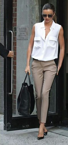 white sleeveless blouse, khaki and black pants, black heels; work outfit - spring / summer / fall