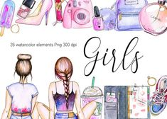 Watercolor Girl, Drawing Clipart, Girl Clipart, Blog Design, Planner Stickers, Cute Girls, Original Artwork, How To Draw Hands, Diy Projects