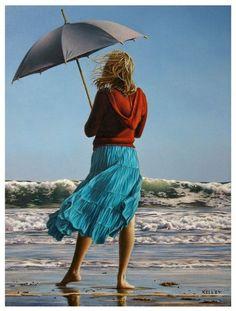 Paul Kelley's sensual art has a romantic appeal, from his figurative painting, fashion artwork, and nude art prints, to his dance artwork and Nova Scotia art. Umbrella Art, Under My Umbrella, Paul Kelly, Fashion Artwork, Umbrellas Parasols, Canadian Artists, Beach Art, Seaside Art, Figure Painting