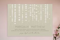 """Invite Research - like the lines of """"flowers"""" across the top third of the card. Could be translated to any shape or size, could be carried over to inserts, flower shape could be different, and they could be any color."""
