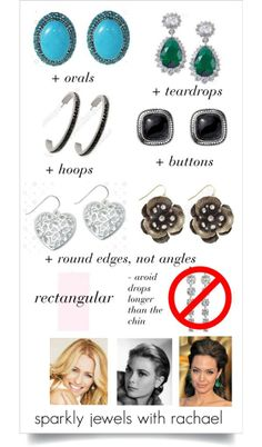 For rectangular face shapes, avoid earrings that are long drops past the chin. Find earrings that are soft and round – no hard angles. Teardrops, ovals, hoops and buttons (large studs), are all flattering to your face shape. Rectangle Face Shape, Oblong Face Shape, Face Shapes, Body Shapes, Do It Yourself Fashion, Square Faces, Long Faces, Fashion Advice, Face And Body