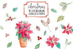 christmas watercolor clip art   angiemakes.com