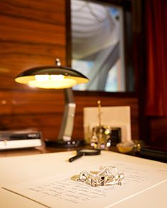 L. RON HUBBARD'S OFFICE AND RESEARCH ROOM  from aboard the Flagship Apollo, is the centerpiece of the Sea Org Museum. The site of countless technical and administrative breakthroughs, the office stands exactly as it did when Mr. Hubbard was aboard the Flagship.