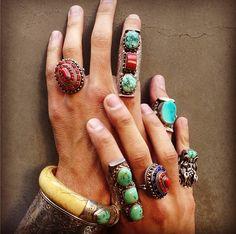 Black Dakini Antique Tibetan rings and bracelets
