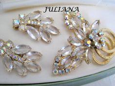 Vintage Juliana Rhinestone Brooch Earrings Set by VintagObsessions, $85.00