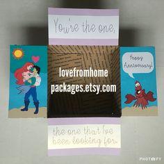 Disney Little Mermaid Anniversary Military Care Package Www. Anniversary Care Package, Anniversary Gifts, Disney Little Mermaids, The Little Mermaid, Deployment Care Packages, Deployment Gifts, Birthday Care Packages, Love Gifts For Her, Mom Birthday Gift