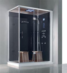 "steam shower enclosure | 59"" Eagle Bath WS-141 Steam Shower Enclosures Sliding Door Unit (Black ..."