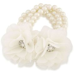 Carolee Icing On The Cake 8MM Faux Pearl & Faceted Stone Stretch... ($75) ❤ liked on Polyvore featuring jewelry, bracelets, white, artificial jewellery, fake pearl jewelry, white jewelry, imitation jewelry and carolee jewelry