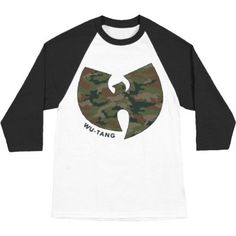 Wu Tang Clan Men's Camo Logo Baseball Jersey Medium White/Black, Beige