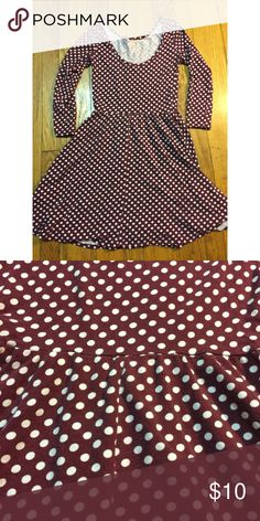 Burgundy Polka dot 3/4 sleeve dress Super cute, skater dress style. Looks cute with tights and boots, with some converse high tops or with sandals. Make it your own! Dresses Mini