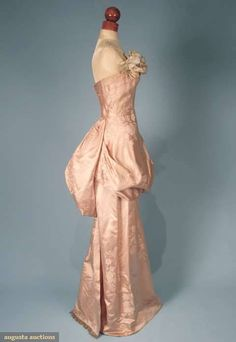 Sophie pink satin damask ballgown from 1947 with back bustle and front draping.