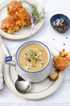 Creamy Roasted Eggplant Soup and Tomato, Cheese Muffins