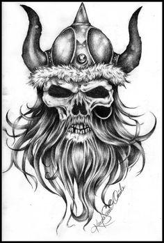 Viking skull w/ helmet design | War Sleeve Project | Pinterest