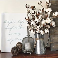 This adorable candle setting would be a perfect setting to replace that unscented candle with an Antique Candle Works Clean Cotton candle! Beautiful handmade soy candles - decor for the modern farmhouse home.