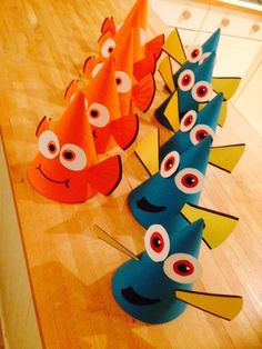 Disney Party Ideas: Finding Nemo and Dory party hats! 3rd Birthday Parties, Birthday Fun, Mickey Birthday, Birthday Ideas, Finding Dory, Hat Party, Elmo Party, Mickey Party, Dinosaur Party
