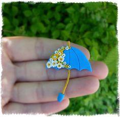 """Купить Брошь """"Зонтик""""(голубой) - комбинированный, брошь зонтик, зонт, зонтик, зонты, яркая брошь"""