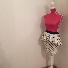 White and Black polk-a-dot Peplum skirt Like new peplum skirt! Very flirty, fun skirt to wear on a picnic or a first date Body c Skirts