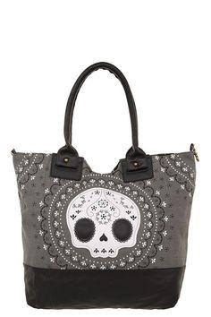 Loungefly - Grey Sugar Skull Canvas Tote   Accessories. gift... foooor myself.