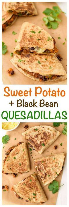 Sweet potato black bean quesadillas are a healthy, fast vegetarian meal! Cheesy … Sweet potato black bean quesadillas are a healthy, fast vegetarian meal! Cheesy and crispy with a sweet, smokey filling. Even meat eaters… - Delicious Vegan Recipes Veggie Recipes, Mexican Food Recipes, Whole Food Recipes, Vegetarian Recipes, Cooking Recipes, Diet Recipes, Recipies, Vegetarian Appetizers, Easy Cooking