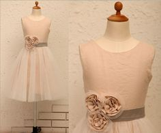 Ivory Linen Tulle Flower Girl Dress with Flower Rosette by deepado