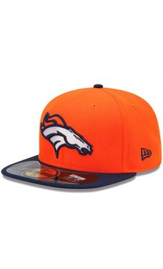 NFL Mens Denver Broncos New Era Orange Navy Blue On-Field Player Sideline  59FIFTY Fitted Hat  football  hat 7363aacad59f
