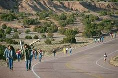Pilgrimage walkers to Santuario de Chimayo
