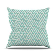 "Amanda Lane ""Geo Tribal Turquoise Sky"" Teal Aztec Throw Pillow"