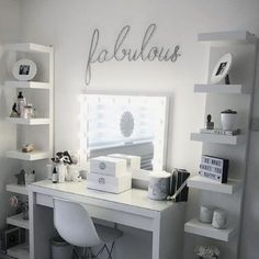 Beauty Station With Ikea Dressing Table And Units Hollywood beauty station with ikea dressing table and units Makeup Ideas makeup ideas for 10 year oldsHollywood beauty station with ikea dressing table and units Makeup Ideas makeup ideas for 10 year olds Bedroom Ideas For Teen Girls, Room Ideas Bedroom, Bedroom Small, Ikea Bedroom, Ikea Room Ideas, Tiny Bedrooms, Master Bedroom, Teenage Bedrooms, Glam Bedroom