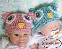 ROSE or AQUA OWL Crocheted Newborn Baby hat Beanie Style Twins Boys or Girls Preemie Newborn 3 up to 6 Months
