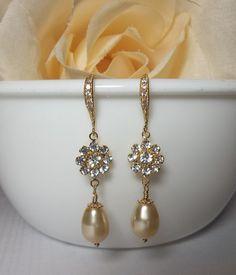 Gold Earrings - BRIDES EARRINGS - SWAROVSKI Pearl and Crystal earrings - Classy - Formal - Stunning - Wedding Jewelry -. $36.99, via Etsy.