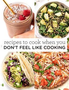 Here are some super easy and simple recipes to cook when you don't feel like cooking! These quick breakfast, lunch and dinner ideas are great for those busy days when you're too tired to cook a complicated meal. Plus these recipes are healthy, vegan, vegetarian and gluten-free! Healthy Tacos, Healthy Pasta Recipes, Healthy Pastas, Simple Recipes, Healthy Food, Vegan Recipes, Slow Cooker Pasta, Slow Cooker Recipes, Cooking Recipes