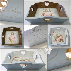 Painted Trays, Painted Boxes, Wooden Boxes, Decoupage Box, Decoupage Vintage, Creative Crafts, Diy And Crafts, Palet Projects, Shabby Chic Boxes