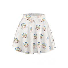 White Angels Print Elastic Waist Mini Flared Skirt ($20) ❤ liked on Polyvore featuring skirts, mini skirts, print skater skirt, flared mini skirt, flared skirt, patterned skirts and patterned mini skirt