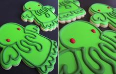 cthulhu cookies -- you're supposed to use the angel cookie cutter, and decorate accordingly.  Not sure if I have those mad piping skills, but they'd be fun to try.