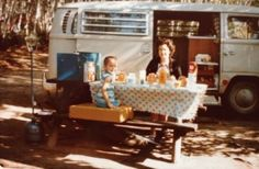 Eating healthy on the road. Camping trip in Canada, 1972.
