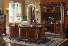 Vendome 3 Piece Home Office Set in Cherry Finish by Acme - 92125-S