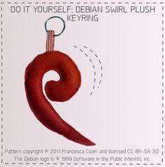 DIY Debian swirl plushie keyring, pattern by Francesca Ciceri (CC: BY-SA 3.0)