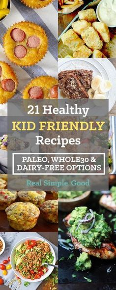 Healthy Kid Friendly Recipes Cooking for kids? Our roundup of 21 healthy kid friendly recipes includes paleo, and dairy-free options. Check out these meals kids love! Dairy Free Recipes For Kids, Dairy Free Snacks, Dairy Recipes, Lunch Recipes, Beef Recipes, Dairy Free Options, Whole30 Recipes, Chicken Recipes, Lactose Free Kids Meals