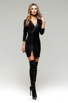 UGHI Black Bodycon Tunic Dress with Zipper Deco - Kollekcio - 1